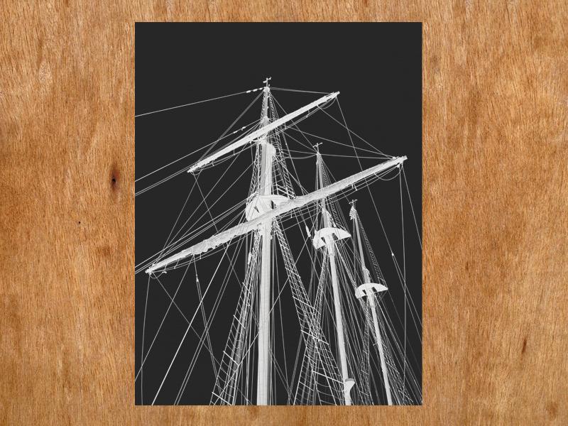 Tall Ship screen print silkscreen handmade print printmaking black and white tall ship mast rigging