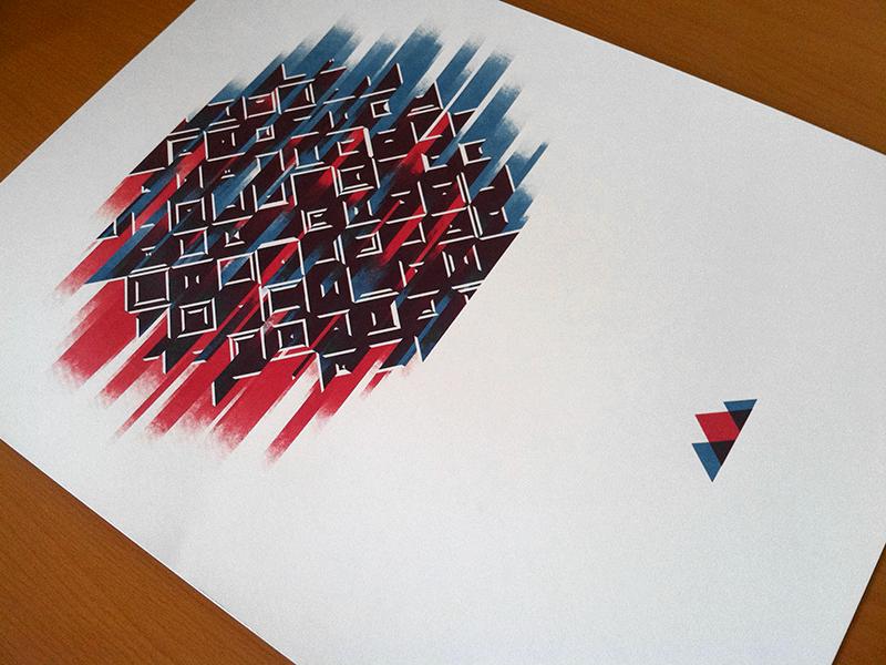 Abstract 2 printed screen print silkscreen handmade print printmaking abstract geometric