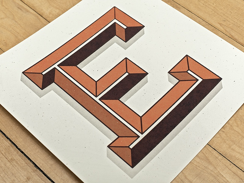 E Screen Print type typography lettering printmaking print screen print silkscreen handmade typeface layered system bevel