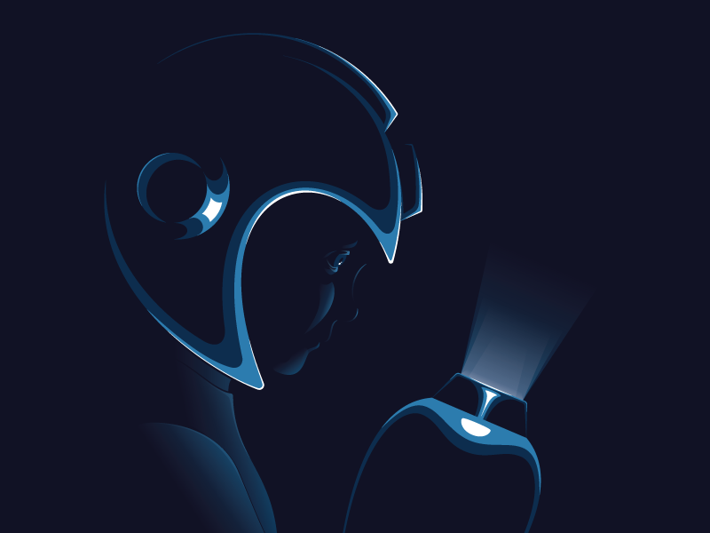 Weight of the World mega man illustration dark shadow light highlight portrait drama dramatic