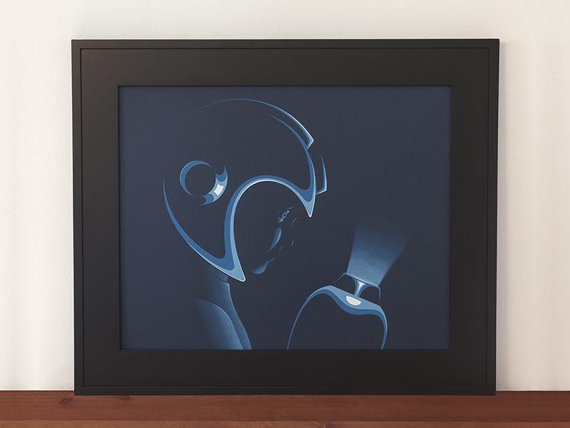 Weight Of The World printed print nes game retro illustration portrait highlight light dark mega man screen print