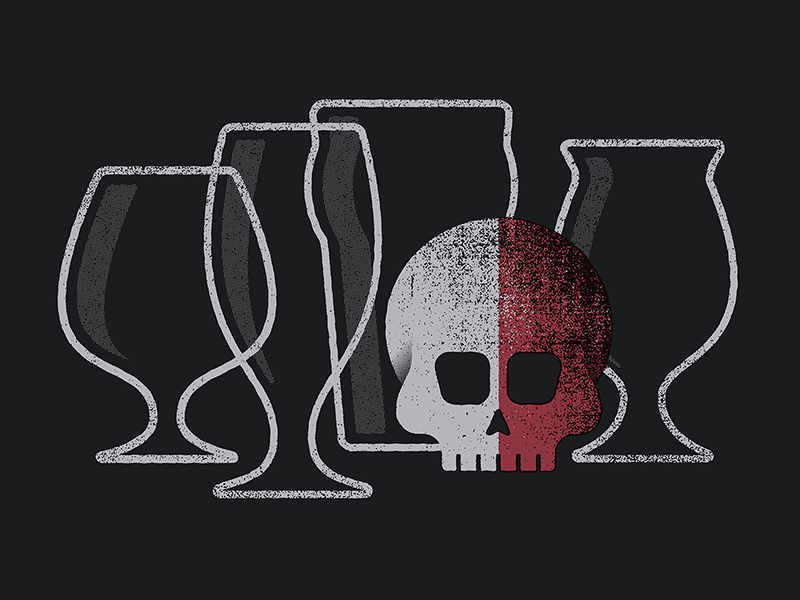 Vessels beer skull glass illustration texture reflection print flat screen print halftone silkscreen