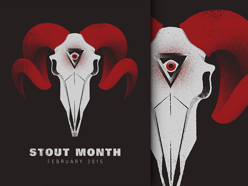 Stout Month illustration beer skull stout dark grain texture event evil inner eye