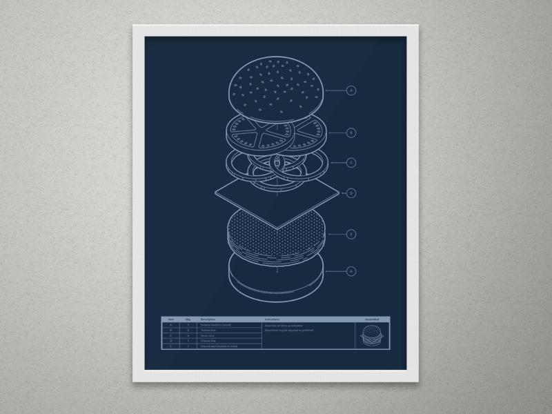 Blueprint Burger ikea exploded instructions print silkscreen screen print technical infographic illustration blueprint burger isometric