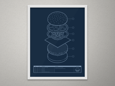 Blueprint Burger ikea exploded instructions print silkscreen screen print technical infographic illustration blueprint burger isometric