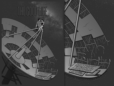 The Good Life poster milky way space illustration condensed saddle creek ominous decrepit gig poster poster