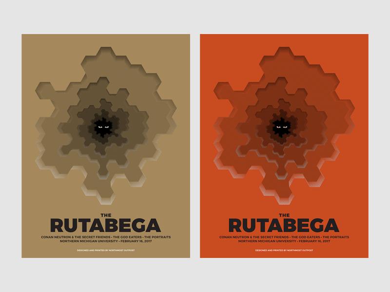 The Rutabega poster silkscreen screen print eyes minimal geometric shading depth rock poster gig poster poster