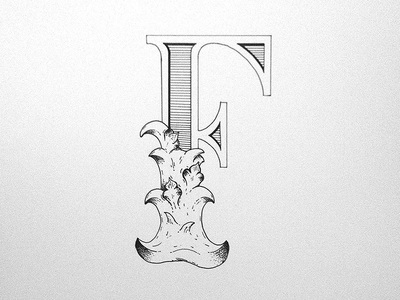 F lettering sketch type typography illustration inked hand drawn