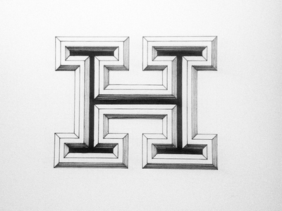 H type typography lettering hand drawn illustration inked sketch 3d bevel