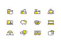 Icons for cafe on wheels