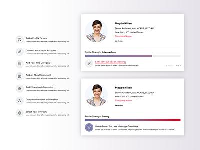 Measuring Profile Completeness profile card profile process ui design ux design foster made