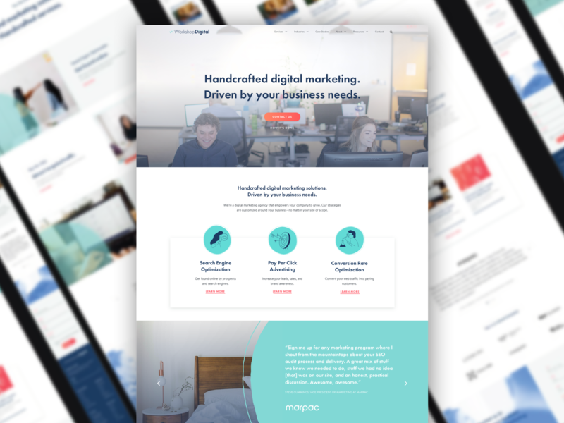 Site Redesign for Workshop Digital digital marketing website design algolia ux design ui design foster made