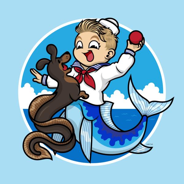 A Merboy and his Sea Dog cartoon character animal art nautical mermaid character design vector illustration