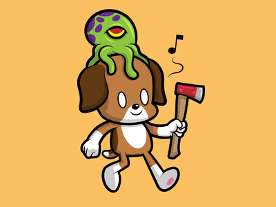 Bad Little Guy 2d character digital alien character design vector illustration cartoon character dog