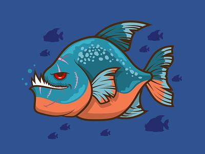 Mean Fish piranha fish vector art animal art digital vector illustration