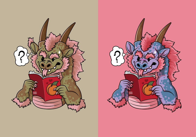 Dragon Struggles To Understand Humans cartoon character cute dragon character design vector art digital vector illustration