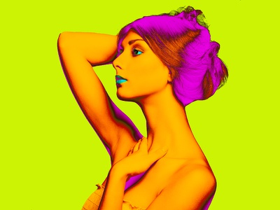 Fashion Photography. Color Manipulation. yellow photoshop fashion design photography fashion blue cyan magenta neon pink color