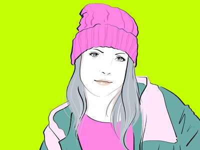 Fashion Illustration ipad wacom sketchbook illustration fashion blue cyan magenta neon pink color