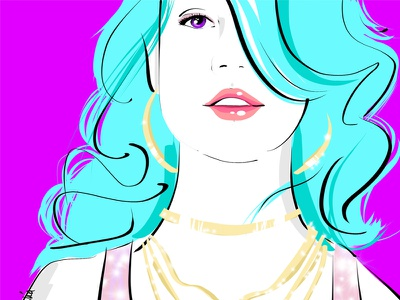 Fashion Illustration blue hair pink ipad vector beauty neon color illustration fashion