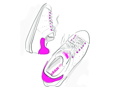 Stan Smith in Pink blue hair pink ipad vector beauty neon color illustration fashion shoes sneakers adidas