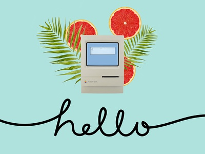 Mac says Hello blue typography lettering mac apple macintosh