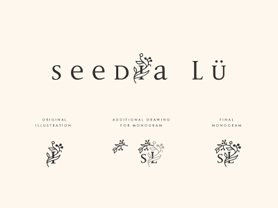 Logo concept for an organic cosmetics brand monogram flower illustration typography cosmetic flower logo branding design beauty pink illustration color fashion