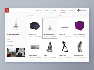 3D printing service Web app dashboard ui admin panel user interface design interface saas 3d printing app web app ux ui