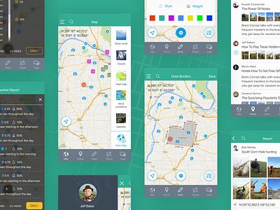 Duckr app hunting ui ux map mobile design app