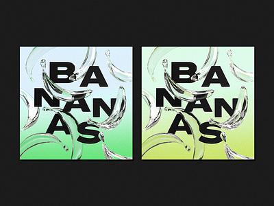 B A N A N A S dimension adobedimension 3drender experiment model glass bananas illustration 3d