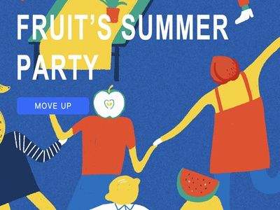 FRUIT'S SUMMER PARTY splash page ui illustration