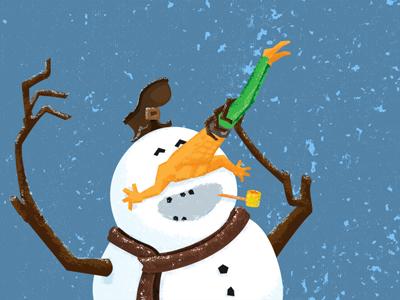 Nose Man illustration snowman