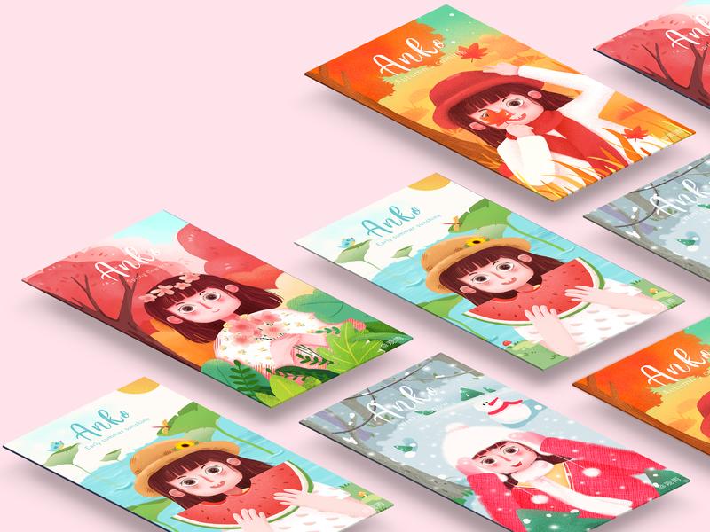 the four seasons春夏秋冬 illustration ui web 插画 design app illustration art