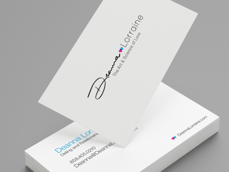 Branding for a dating coach hand drawn font script business cards cards heart branding dating love