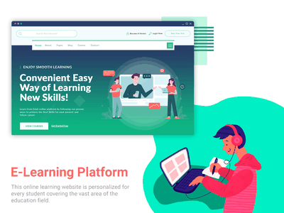 Website of Online Learning online study elearning courses elearning minimal ui online learning course learning clean product student teacher 2020 trends