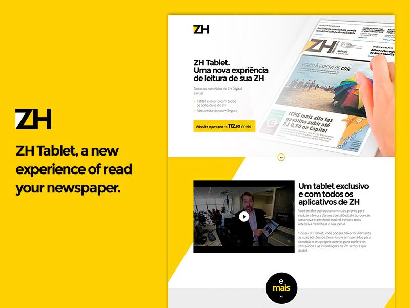 ZH Tablet landing page ui visual design design