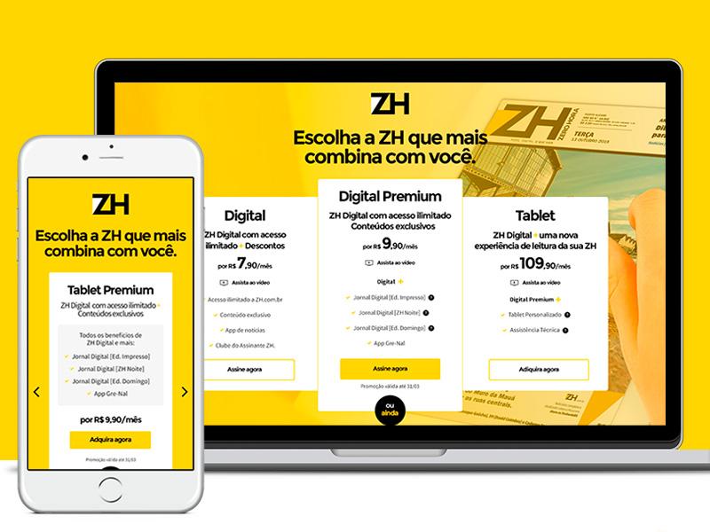 Zero Hora responsive visual design pricing page landing page design ui
