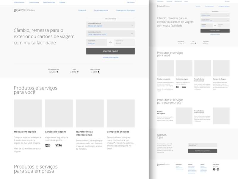 Daycoval Bank wireframe site interface ai ux