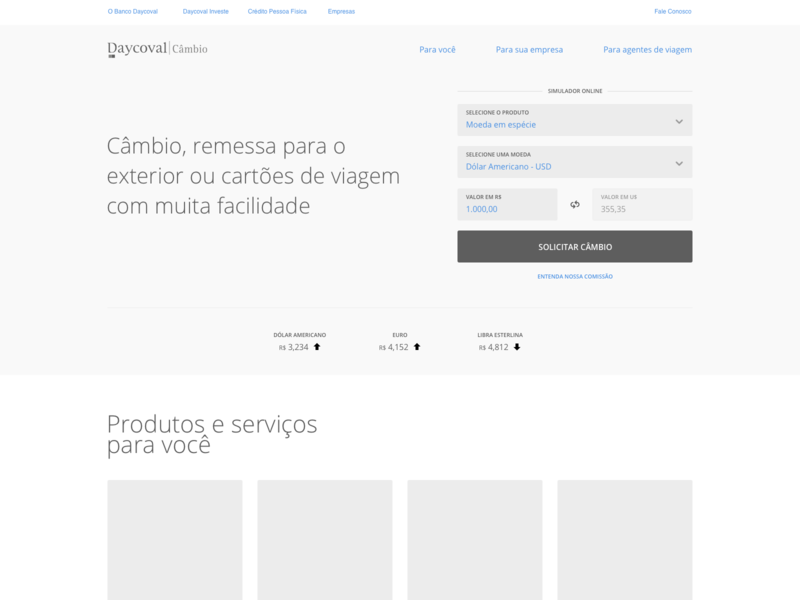Daycoval Bank wireframe website interface ai ux