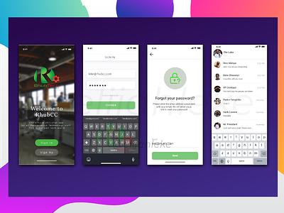 Rhubcc Official Chat App ux illustration app design ui