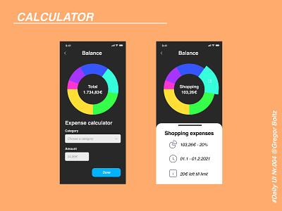 Calculator - Daily UI #004 expenses calculator dailyui app ui design