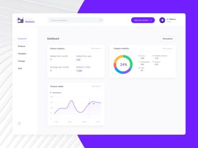 Product database UI exploration