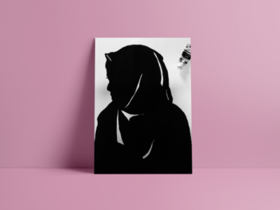 silhouette painting of a veiled girl