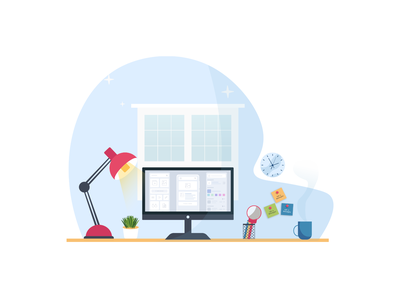 Workstation Desk Illustration minimal hello world hellodribbble debuts coffee flat desk front desk color ui vector design illustration workstation