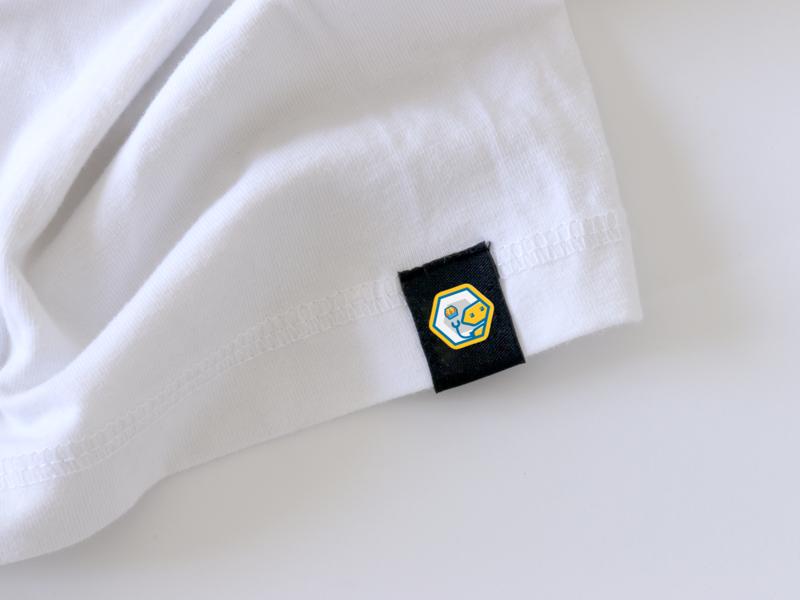 Woven Label Bottom woven t shirt product branding logo branding