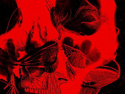 Venenum human drawing red black death metal typography graphic design concert