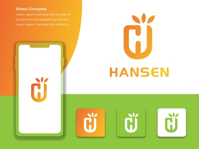 Hansen Brand Logo home hh h mark h letter company colorful beauty awesome
