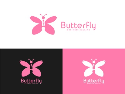 Butterpaly Logo icon resort refined meditation massage makeup identity girl gentle fly feminine female face elegant easy distinguished clean classic butterfly branding brand
