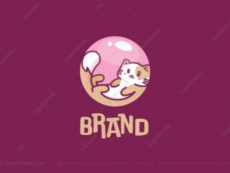 Cat Bubble Logo for sale pink store shop care branding logos logo floating kitty bubblegum gum animal pet cute bubble cat