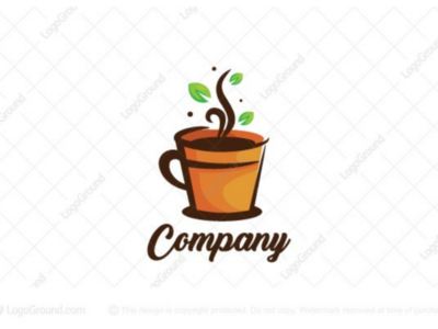 Coffee Pot Logo for sale branding logos logo pot steam beverage mug cup soil hot drink leaf leaves natural plant coffee