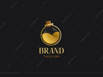 Luxurious Potion Logo for sale glittery beautiful beauty cosmetics poisonous poison liquid glamorous luxurious luxury science lab potion perfume flask golden